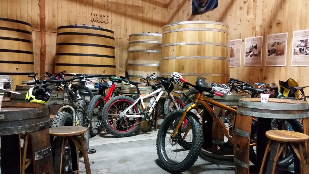 Our bikes got VIP seating too at the Rogue Brewery in Newport.